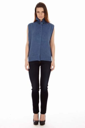 Knitted Royal Blue Sleeveless  Cardigan