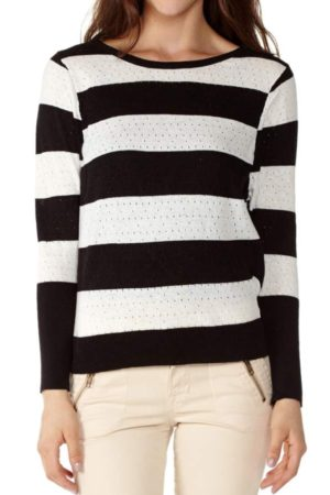 Black Stripe Knit Pointelle Sweater