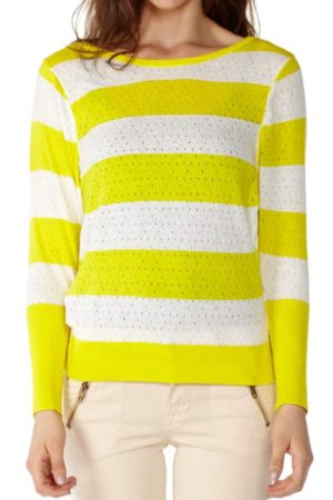 Knit Pointelle Yellow Striped Sweater