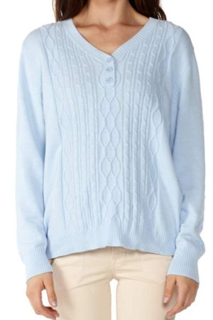 Knitted Sky Blue V-neck Sweater