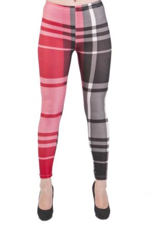Plaid Microfiber Red & Black Patch Leggings