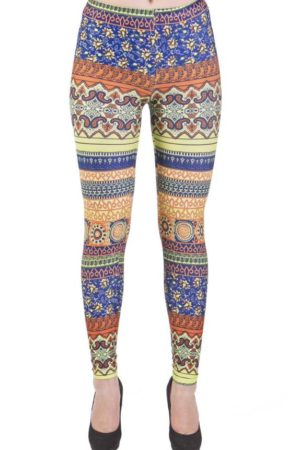 Orange and Blue Paisley Leggings