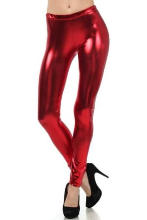 Red Metallic Footless Leggings