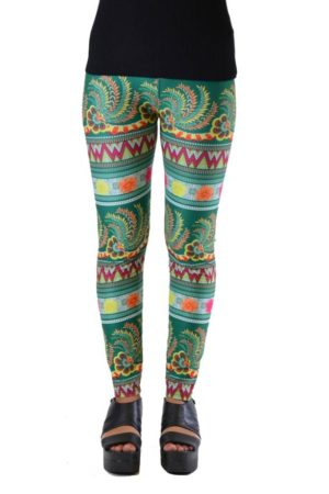 Green Floral Funky Plus Size Leggings