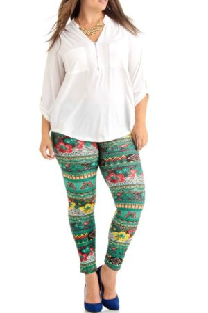 Green Floral Tribal Plus Size Leggings