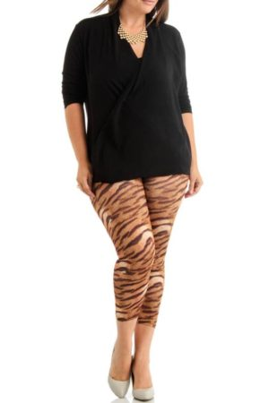 Tiger Style Ankle Length Plus Size Leggings