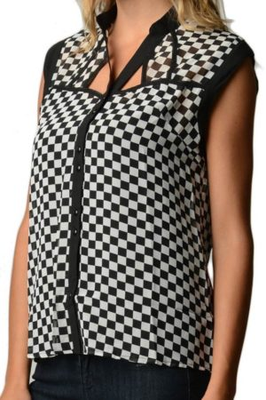 Checkerboard Chiffon Tank Top (Assorted Wholesale Bundle) Wholesale (Assorted Bundle 1X-2X-3X)