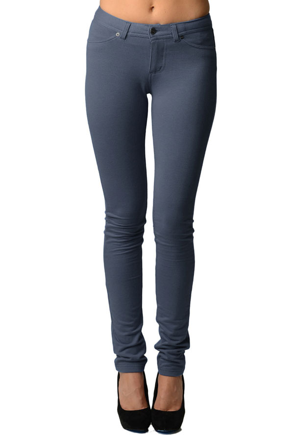 Dark Grey Moleton Stretchy Jeggings with Pockets
