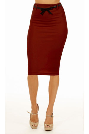 Burgandy Below Knee Pencil Skirt