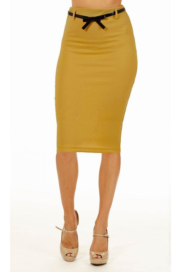 mustard below knee pencil skirt fashion outlet nyc