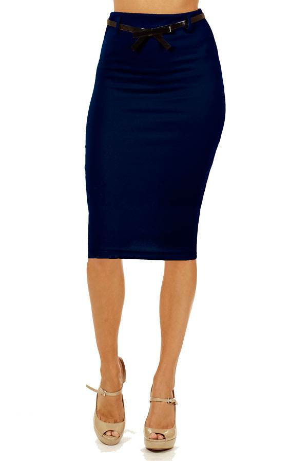 navy below knee pencil skirt fashion outlet nyc