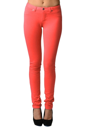 Peach Moleton Stretchy Jeggings with Pockets