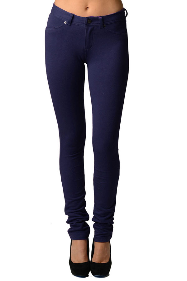 Navy Moleton Stretchy Jeggings with Pockets