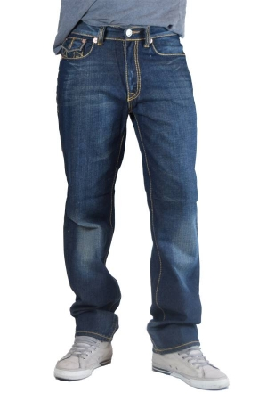 Blue Yellow Stitch Denim Boot Cut Jeans