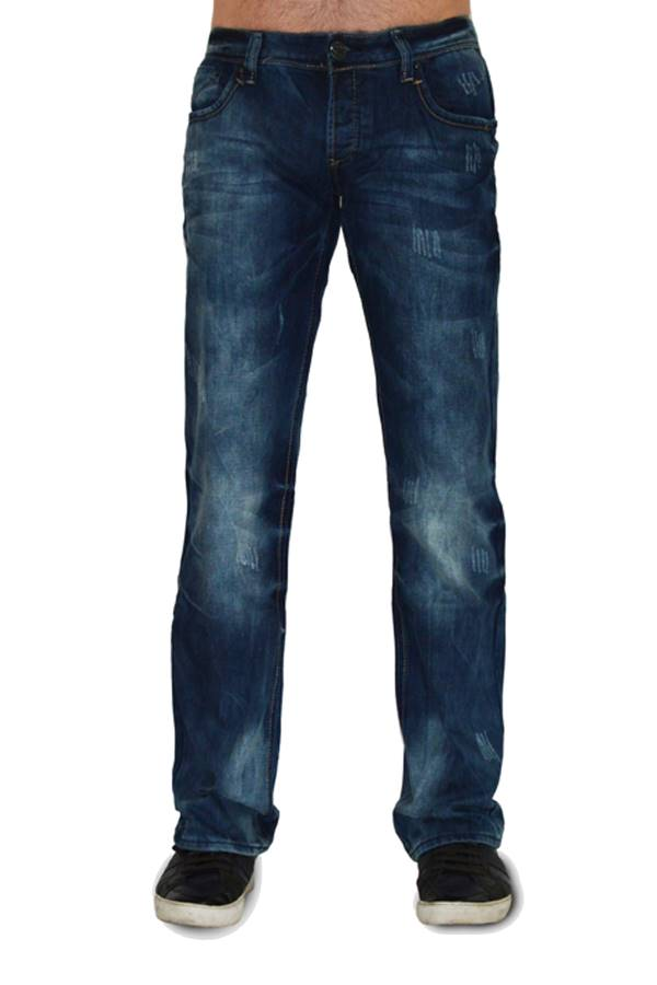 Navy Wash Scratch Jeans
