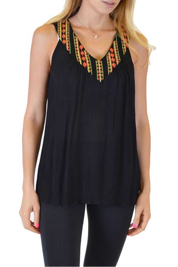 Black Printed Anil Top