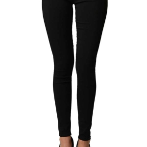 Black Slim Fit Cross Zipper Jeggings