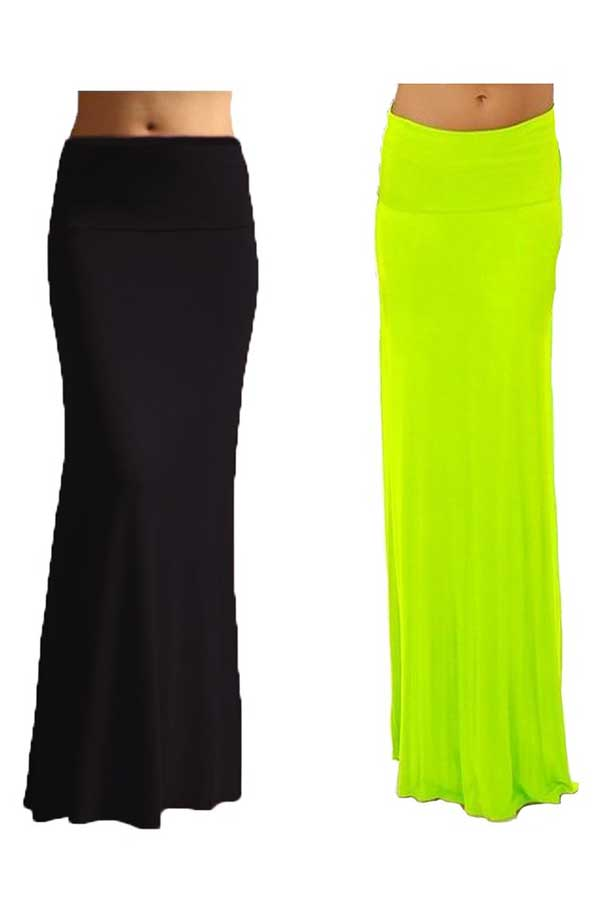 2 pack s rayon spandex maxi skirt fashion outlet nyc